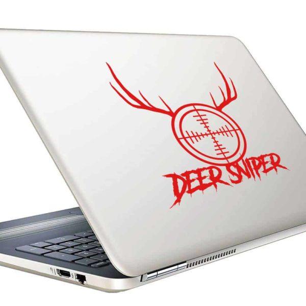 Deer Sniper Rifle Gun Scope Antlers Vinyl Laptop Macbook Decal Sticker