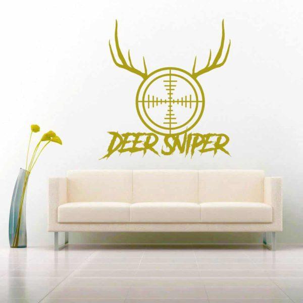 Deer Sniper Rifle Gun Scope Antlers Vinyl Wall Decal Sticker
