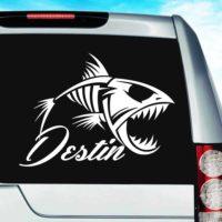 Destin Florida Fish Skeleton Vinyl Car Window Decal Sticker