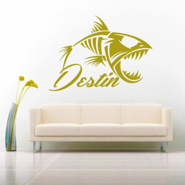 Destin Florida Fish Skeleton Vinyl Wall Decal Sticker