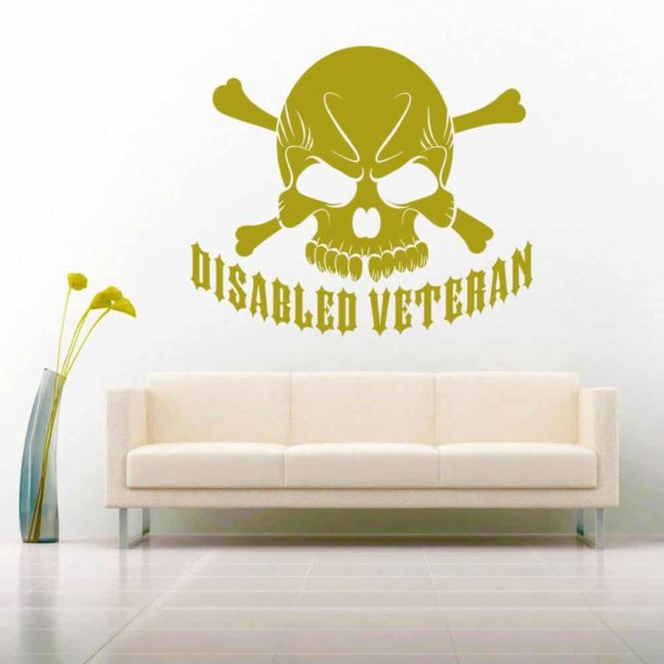 Disabled Veteran Skull Vinyl Wall Decal Sticker