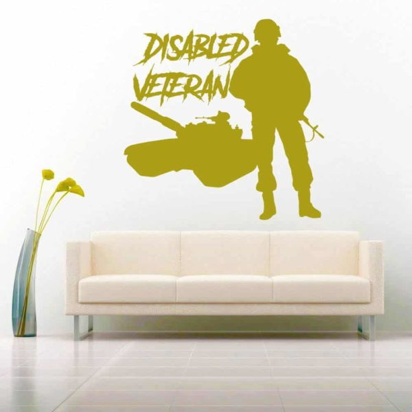Disabled Veteran Soldier Tank Vinyl Wall Decal Sticker