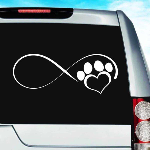 Dog Paw Heart Infinity Vinyl Car Window Decal Sticker