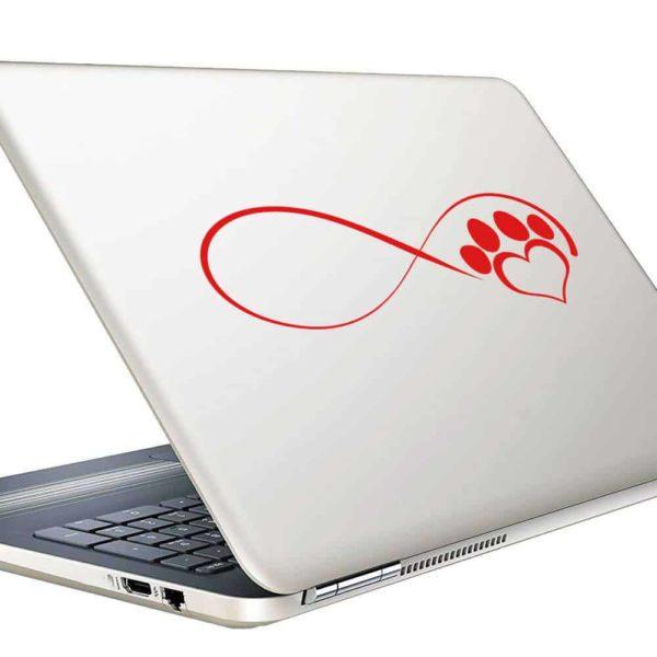 Dog Paw Heart Infinity Vinyl Laptop Macbook Decal Sticker