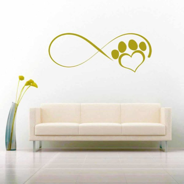 Dog Paw Heart Infinity Vinyl Wall Decal Sticker