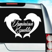 Dominican Republic Dolphin Heart Vinyl Car Window Decal Sticker