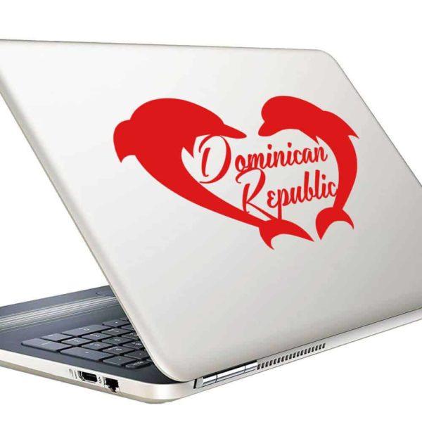 Dominican Republic Dolphin Heart Vinyl Laptop Macbook Decal Sticker