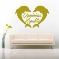 Dominican Republic Dolphin Heart Vinyl Wall Decal Sticker