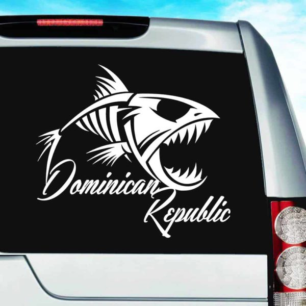 Dominican Republic Fish Skeleton Vinyl Car Window Decal Sticker