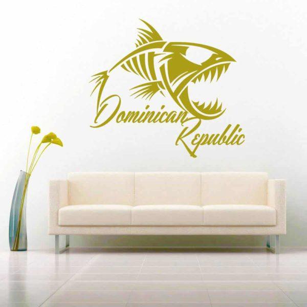 Dominican Republic Fish Skeleton Vinyl Wall Decal Sticker