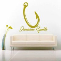 Dominican Republic Fishing Hook Vinyl Wall Decal Sticker