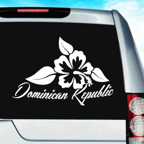 Dominican Republic Hibiscus Flower Vinyl Car Window Decal Sticker