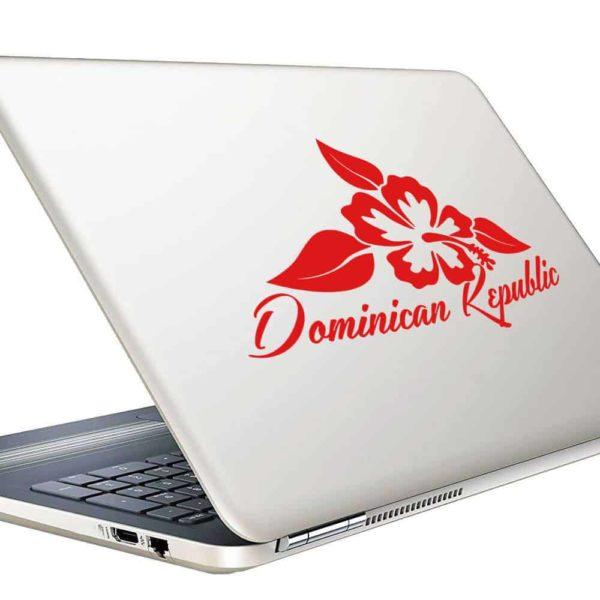 Dominican Republic Hibiscus Flower Vinyl Laptop Macbook Decal Sticker