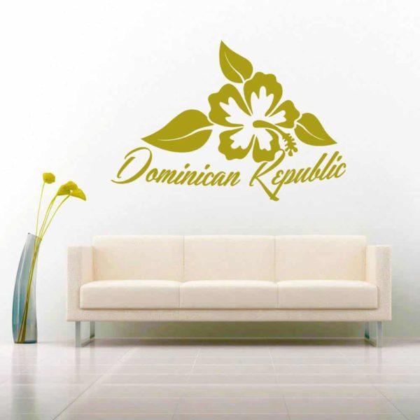 Dominican Republic Hibiscus Flower Vinyl Wall Decal Sticker