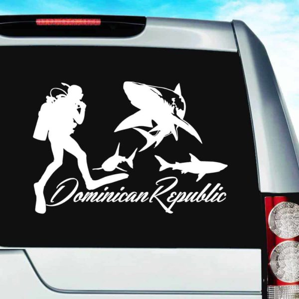 Dominican Republic Scuba Diver With Sharks Vinyl Car Window Decal Sticker