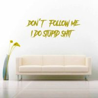 Dont Follow Me I Do Stupid Shit Vinyl Wall Decal Sticker