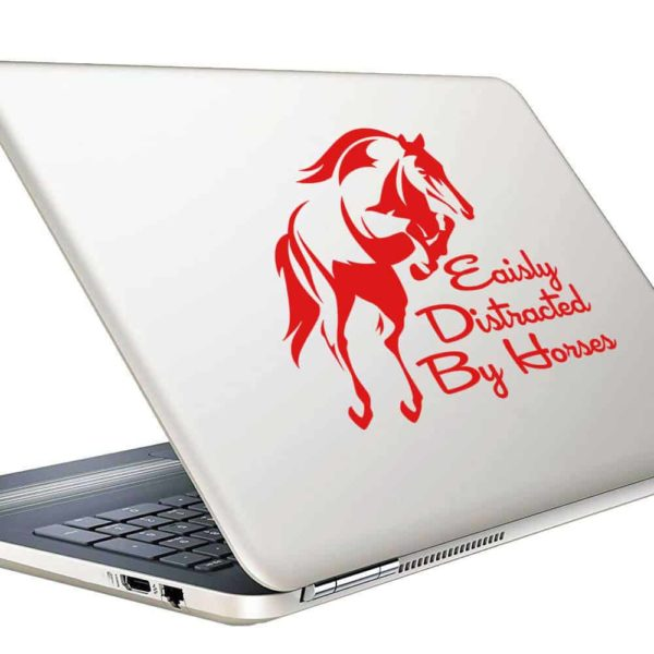Easily Distracted By Horses Vinyl Laptop Macbook Decal Sticker