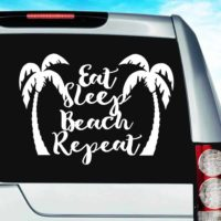 Eat Sleep Beach Repeat Palm Trees Vinyl Car Window Decal Sticker