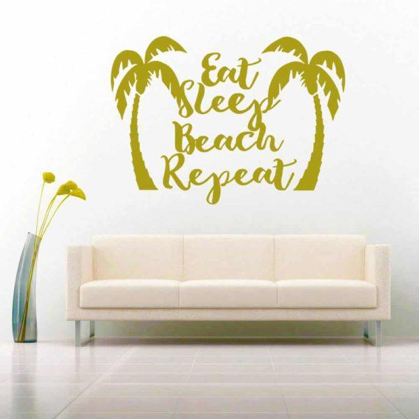 Eat Sleep Beach Repeat Palm Trees Vinyl Wall Decal Sticker