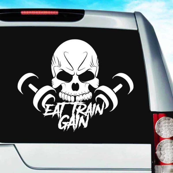 Eat Train Gain Skull Dumbbells Vinyl Car Window Decal Sticker