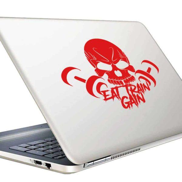Eat Train Gain Skull Dumbbells Vinyl Laptop Macbook Decal Sticker