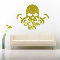 Eat Train Gain Skull Dumbbells Vinyl Wall Decal Sticker