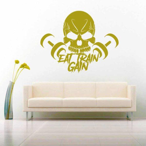 Eat Train Gain Skull Dumbbells Vinyl Wall Decal Sticker