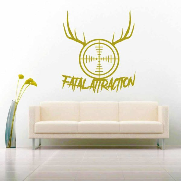 Fatal Attraction Deer Hunter Rifle Gun Scope Antlers Vinyl Wall Decal Sticker