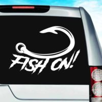 Fish On Hook Vinyl Car Window Decal Sticker