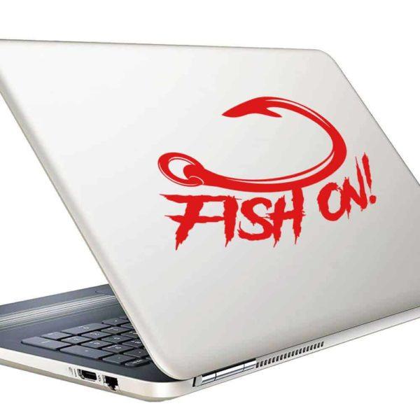Fish On Hook Vinyl Laptop Macbook Decal Sticker