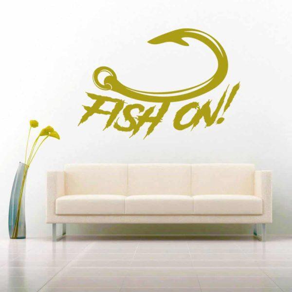 Fish On Hook Vinyl Wall Decal Sticker