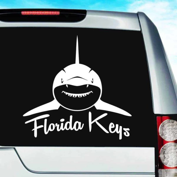 Florida Keys Shark Front View Vinyl Car Window Decal Sticker