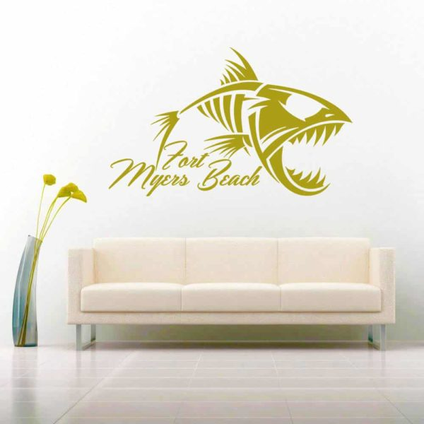 Fort Myers Beach Fish Skeleton Vinyl Wall Decal Sticker