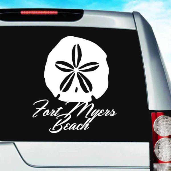 Fort Myers Beach Florida Sand Dollar Vinyl Car Window Decal Sticker