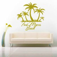 Fort Myers Beach Palm Tree Island Vinyl Wall Decal Sticker