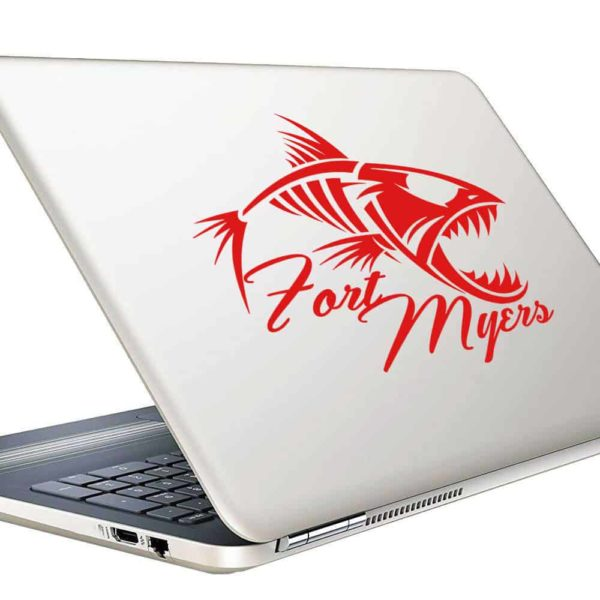 Fort Myers Fish Skeleton Vinyl Laptop Macbook Decal Sticker