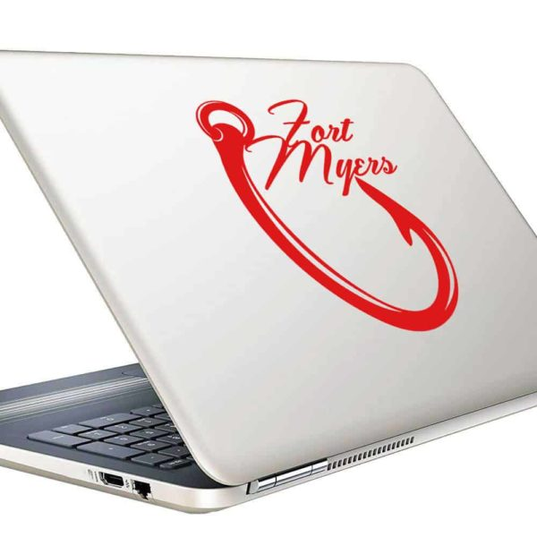 Fort Myers Fishing Hook Vinyl Laptop Macbook Decal Sticker