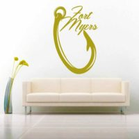 Fort Myers Fishing Hook Vinyl Wall Decal Sticker
