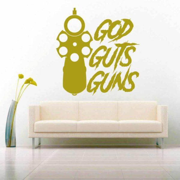 God Guts Guns Pistol Vinyl Wall Decal Sticker