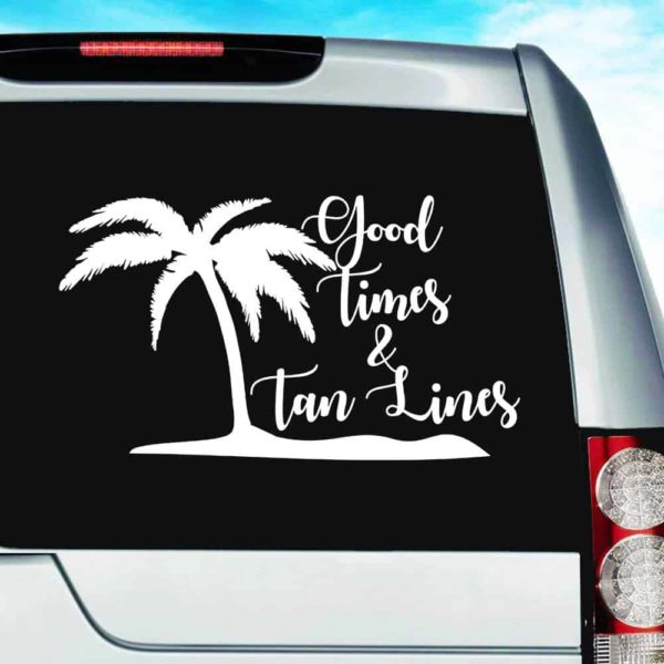 Good Times And Tan Lines Palm Tree Island Vinyl Car Window Decal Sticker