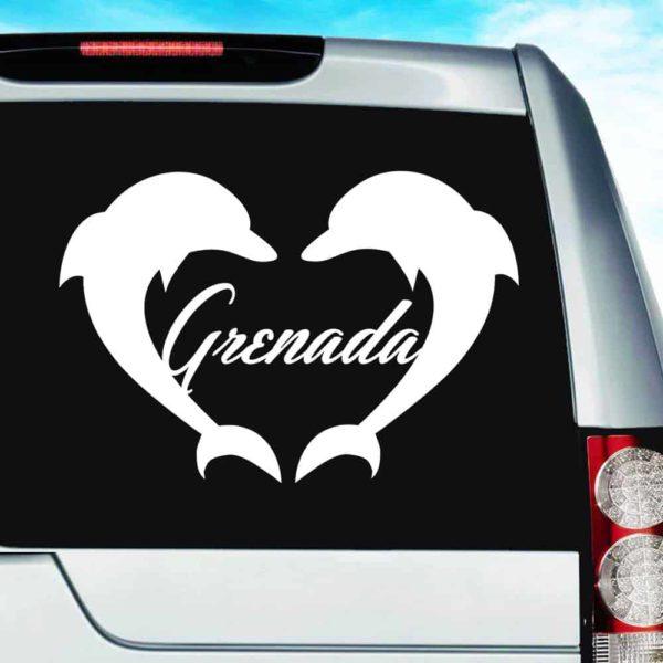 Grenada Dolphin Heart Vinyl Car Window Decal Sticker