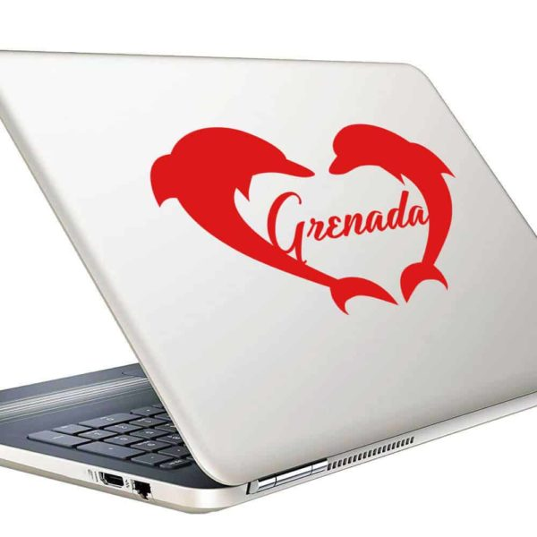 Grenada Dolphin Heart Vinyl Laptop Macbook Decal Sticker