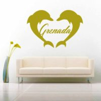Grenada Dolphin Heart Vinyl Wall Decal Sticker