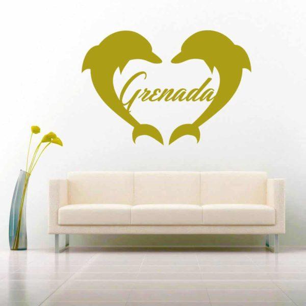 Grenada Dolphin Heart Vinyl Wall Decal Sticker