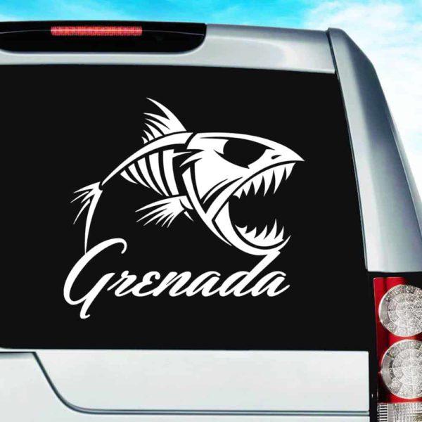Grenada Fish Skeleton Vinyl Car Window Decal Sticker