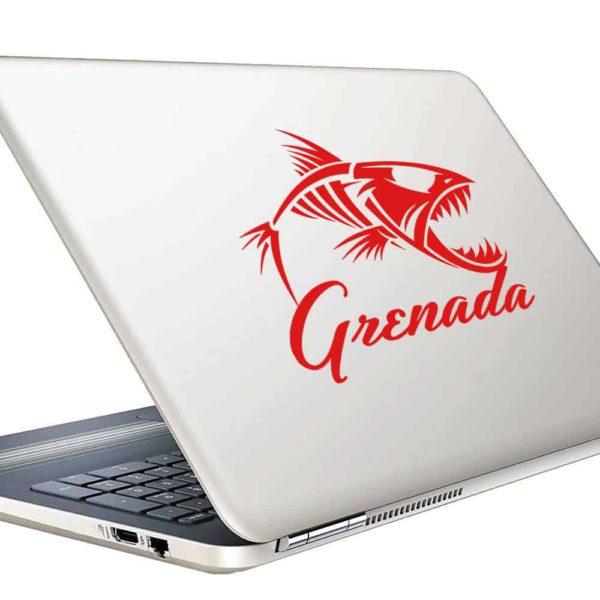 Grenada Fish Skeleton Vinyl Laptop Macbook Decal Sticker