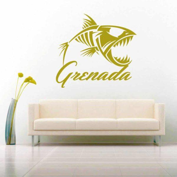 Grenada Fish Skeleton Vinyl Wall Decal Sticker