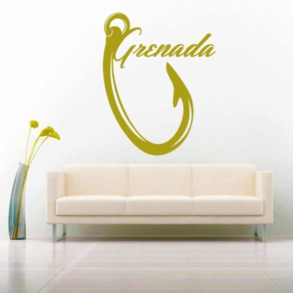 Grenada Fishing Hook Vinyl Wall Decal Sticker