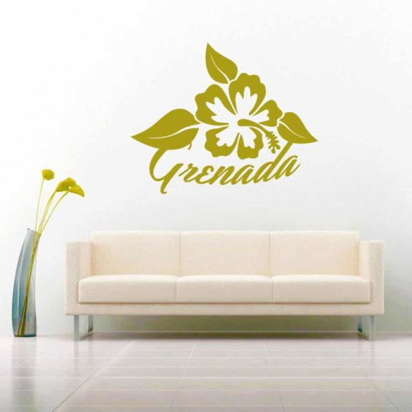 Grenada Hibiscus Flower Vinyl Wall Decal Sticker
