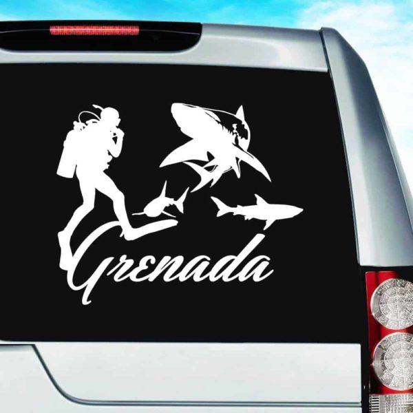 Grenada Scuba Diver With Sharks Vinyl Car Window Decal Sticker